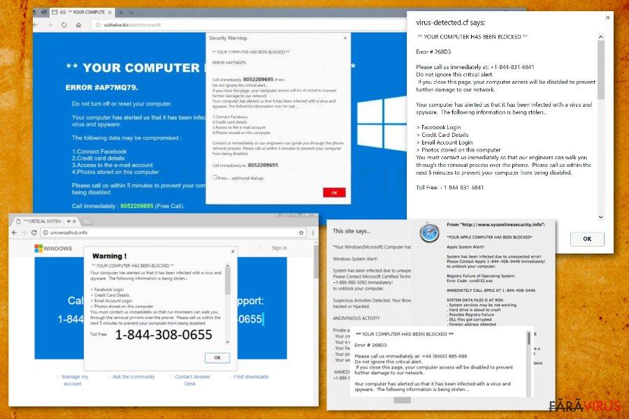 Your computer has been blocked captură de ecran