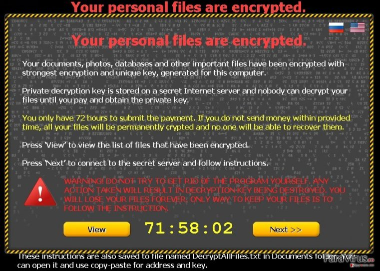 Virusul Your personal files are encrypted captură de ecran