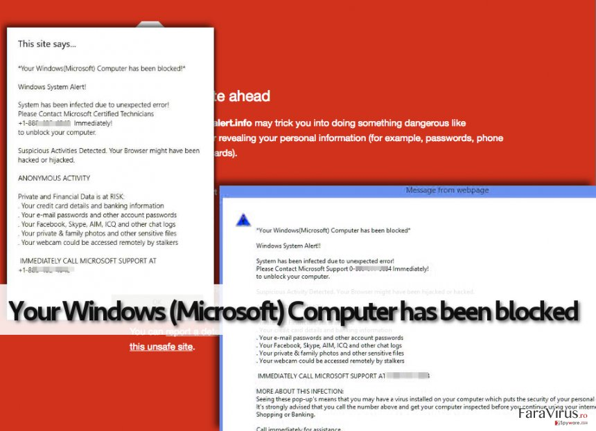 Avertizarea falsă de la Your Windows (Microsoft) Computer has been blocked